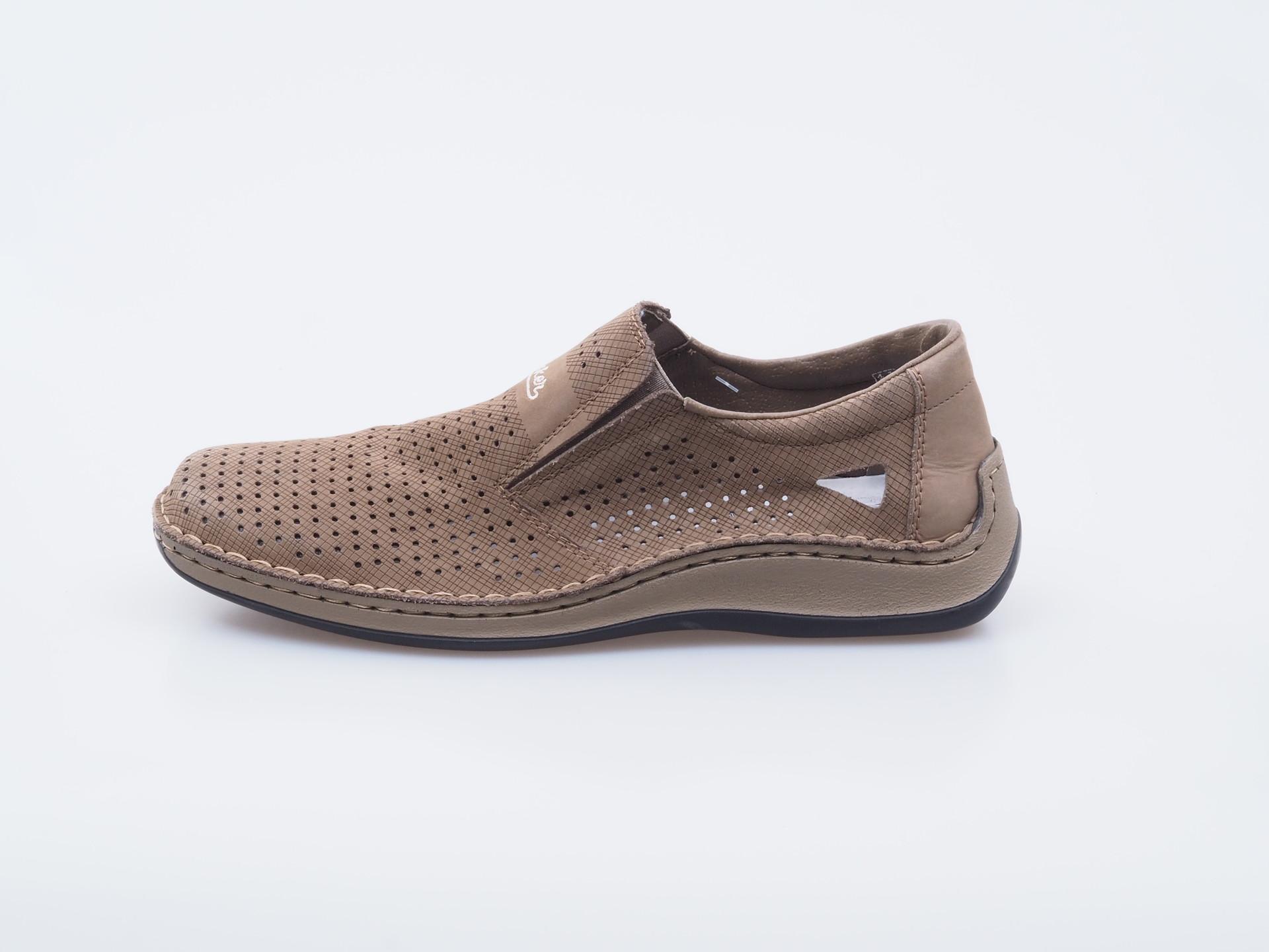 51c464a90bb2 Soňa - Pánska obuv - Sandále - Hnedé pánske mokasíny s perforáciou Rieker
