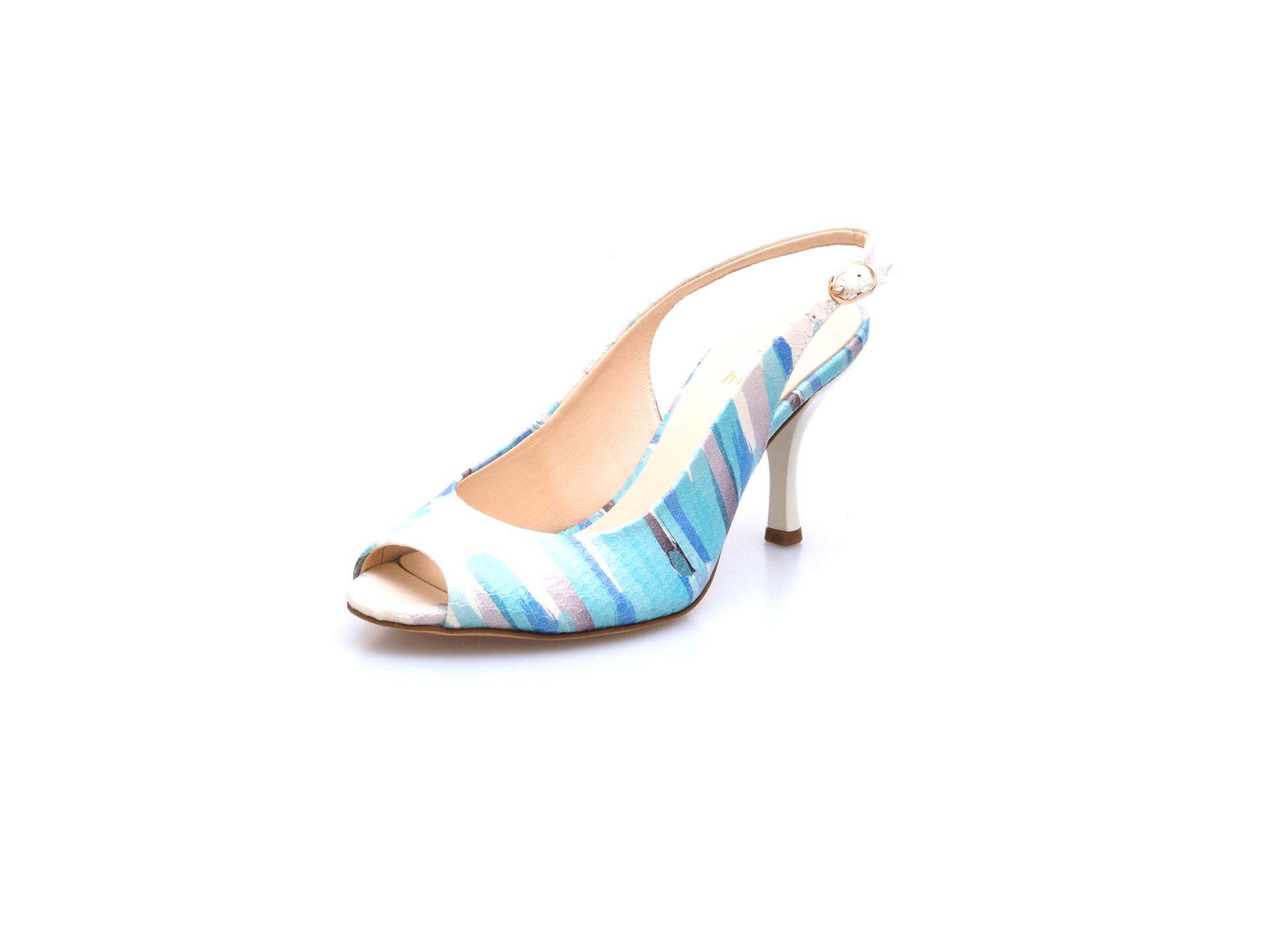 714640f883f Soňa - Dámska obuv - Sandále - Bielo-modré kožené sandále Högl