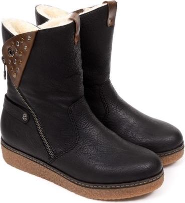 2a0dfd7b2bd7 Soňa - Dámska obuv - Čižmy - Čierne zateplené čižmy Rieker na nízkom ...