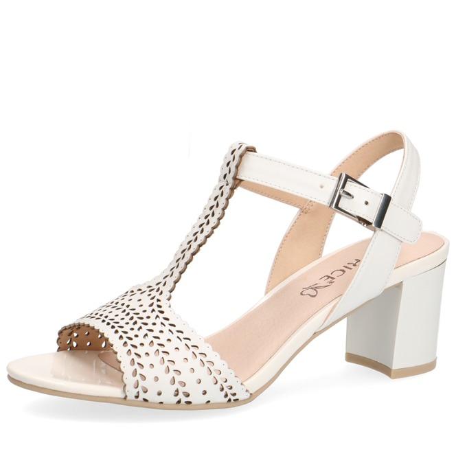 bbc087622934 Biela dámska otvorená sandála na vysokom podpätku značky Caprice ...