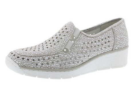 0a38a93506159 Soňa - Dámska obuv - Mokasíny - Biele dámske mokasíny značky Rieker