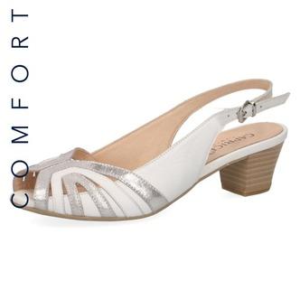 db79e7fddce5 Biele dámske otvorené sandále na nízkom podpätku značky Caprice ...