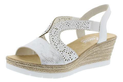 66f49c9c7 Soňa - Dámska obuv - Sandále - Biele dámske otvorené sandále na platforme  Rieker