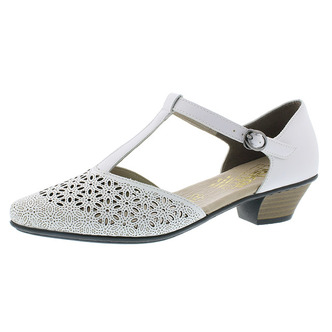 c43e6921d67d Biele dámske uzatvorené sandále na nízkom podpätku Rieker ...