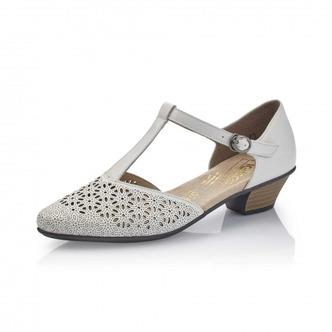 9186baa01 ... Biele dámske uzatvorené sandále na nízkom podpätku Rieker ...