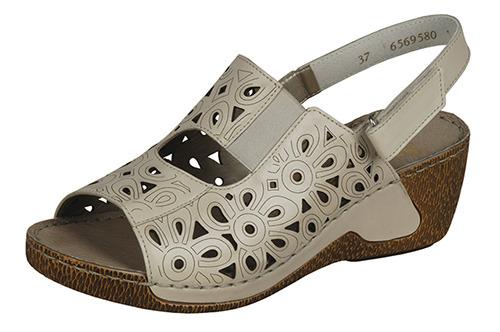 1d9394dd8e34 Bledošedé sandále s ozdobnou perforáciou Rieker