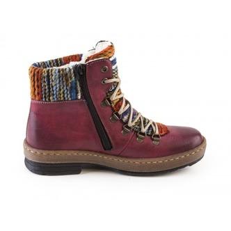 Bordová dámska obuv šnurovacia zateplená značky Rieker Bordová dámska obuv  šnurovacia zateplená značky Rieker Doprava zadarmo c8567a1fe54