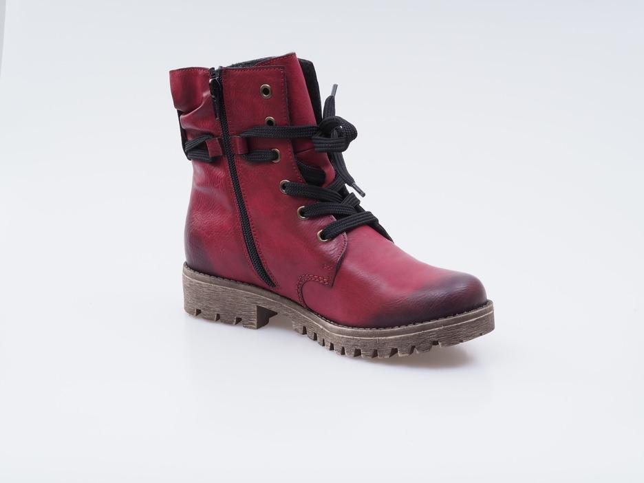 066108a9d6196 Soňa - Dámska obuv - Kotníčky - Bordové zateplené šnurovacie topánky Rieker