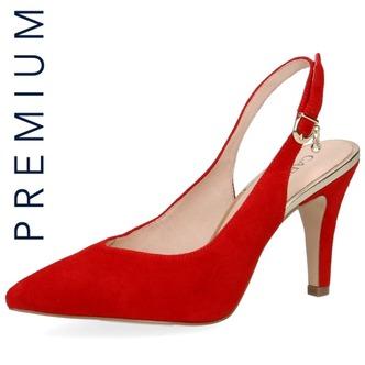 90be035d5648 Červené dámske sandále na vysokom podpätku značky Caprice ...