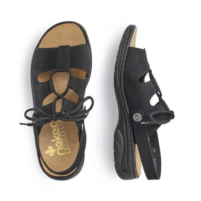 ddba409e2bb37 ... Čierna dámska otvorená sandála na nízkom podpätku značky Rieker ...