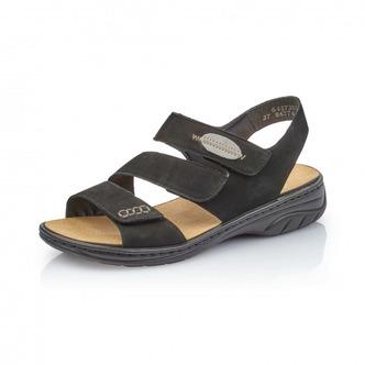 9101bc1338 ... Čierne dámske otvorené sandále na nízkom podpätku Rieker ...