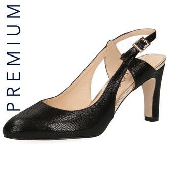 fa91983c1621 Čierne dámske uzatvorené sandále na vysokom podpätku značky Caprice ...