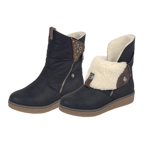 64d16d6e9f Soňa - Dámska obuv - Čižmy - Čierne zateplené čižmy Rieker na nízkom  podpätku