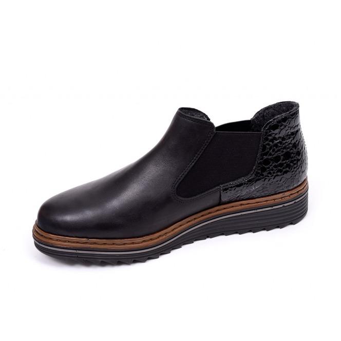 Členková zateplená topánka Rieker na nízkom podpätku zľava - 50% Výpredaj 68d19bf502