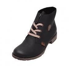 e6c37b8fe0595 Soňa - Dámska obuv - Kotníčky - Dámska šnurovacia obuv čierna značky Rieker