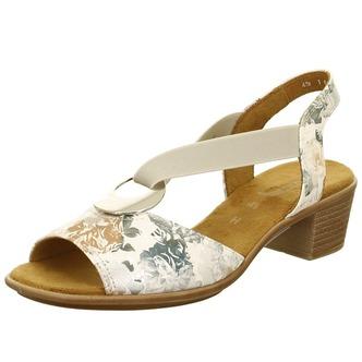 5b75494dfae4 Dámske otvorené sandále na nízkom podpätku značky Ara - farba biela káva ...