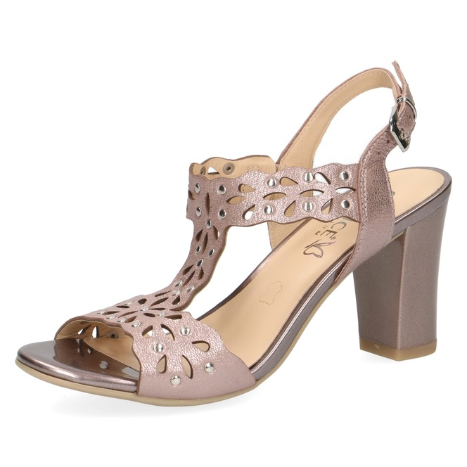 4956a6699acf Dámske otvorené sandále na vysokom podpätku značky Caprice farba ružová ...