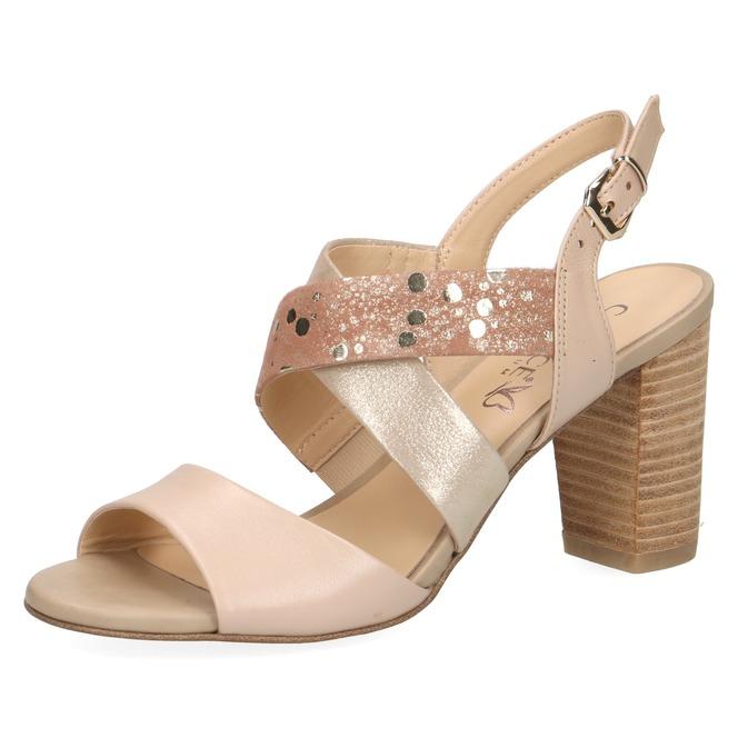 b18eea991ad0 Dámske otvorené sandále na vysokom podpätku značky Caprice farba zlatá ...