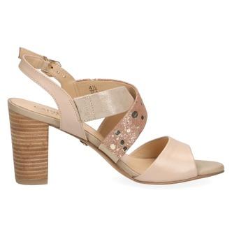 b53194420a15 ... Dámske otvorené sandále na vysokom podpätku značky Caprice farba zlatá  ...