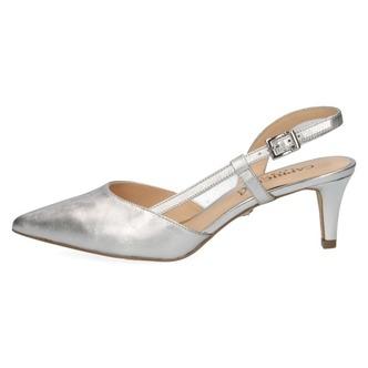 4c03c905d2 ... Dámske sandále na vysokom podpätku značky Caprice farba strieborná ...