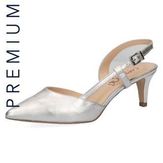 b72dfe12eb51 Dámske sandále na vysokom podpätku značky Caprice farba strieborná ...