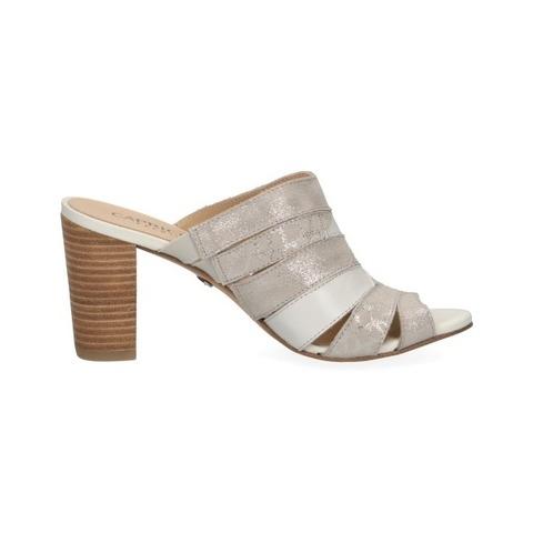 Soňa Dámska obuv Šľapky Dámske šľapky na vysokom podpätku značky Caprice farba biela káva