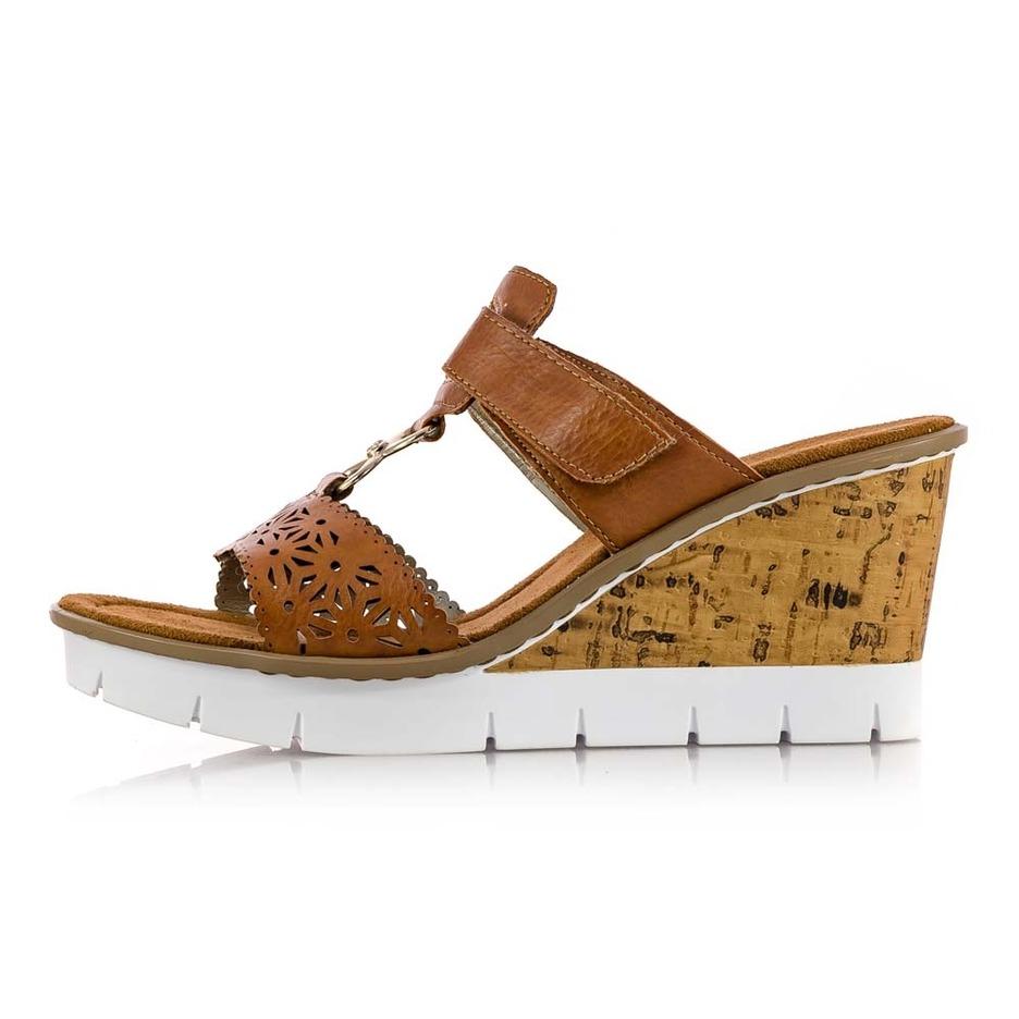 ab173ad79 Soňa - Dámska obuv - Šľapky - Hnedé dámske šľapky na platforme Rieker