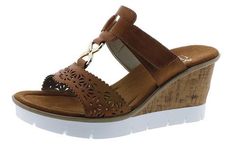 80db6fa1876ad Soňa - Dámska obuv - Šľapky - Hnedé dámske šľapky na platforme Rieker