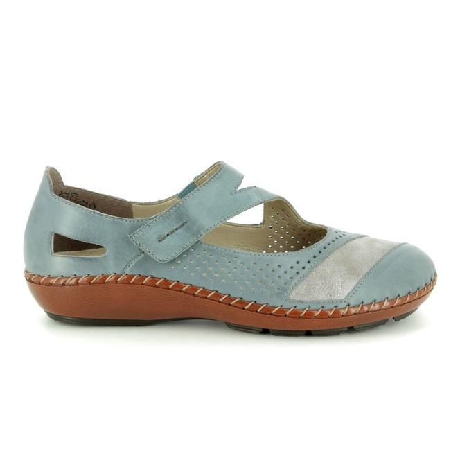 1c04ad6da ... Modrá dámska obuv so zapínacím páskom Rieker zľava ...