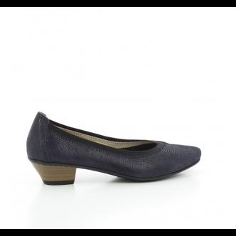 40c7411b77 ... Modré dámske lodičky na nízkom podpätku Rieker obuv týždňa