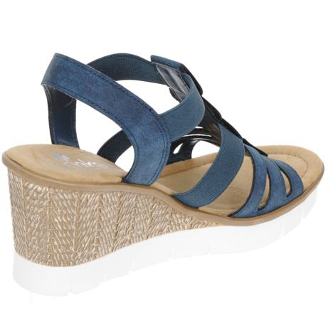 382eb4a3a3 Soňa - Dámska obuv - Sandále - Modré dámske otvorené sandále na platforme  Rieker