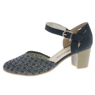 272b3bd6cc15 Modré dámske otvorené sandále na vysokom podpätku Remonte - Rieker ...