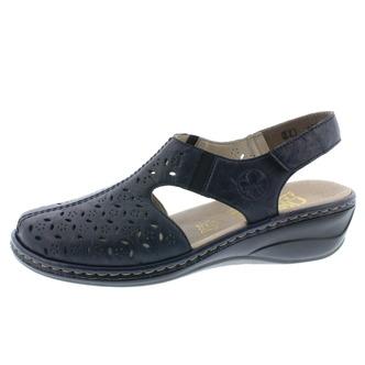 9290412b7df3 Modré dámske uzatvorené sandále na platforme Rieker ...