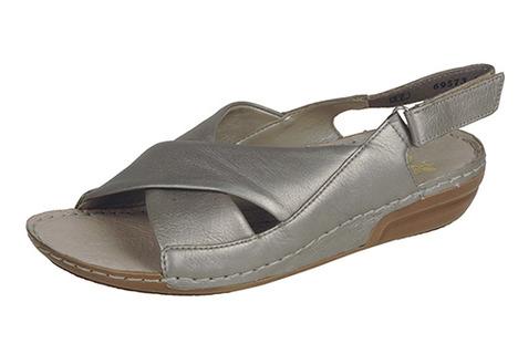 3a849d4e83ab Soňa - Dámska obuv - Sandále - Strieborné sandále na nízkom podpätku Rieker