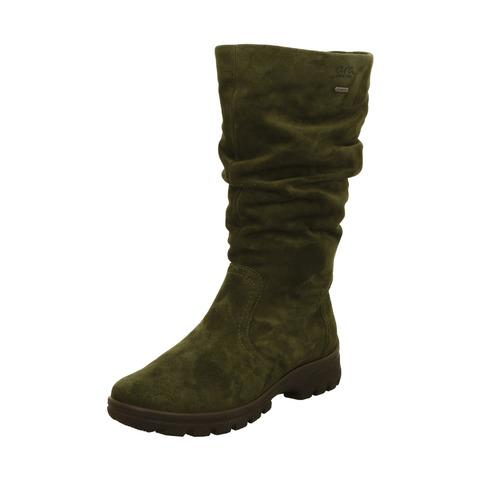 7841982821 Soňa - Dámska obuv - Čižmy - Zelené dámske čižmy vysoké zateplené na nízkom  podpätku značky Ara